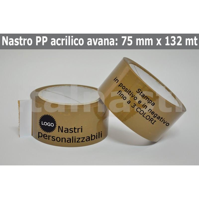 Confezione Nastri Adesivi PP Acrilico 75 mm. x 132 mt.